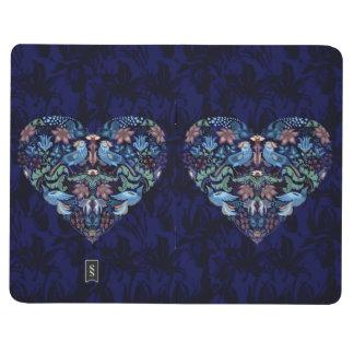 Vintage luxury Heart with blue birds happy pattern Journal