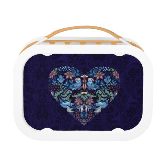 Vintage luxury Heart with blue birds happy pattern Lunch Box