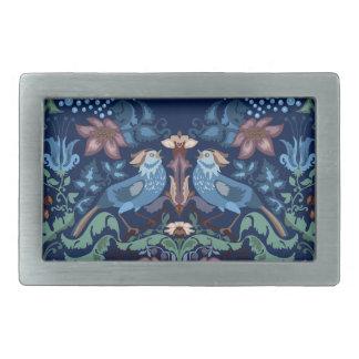 Vintage luxury Heart with blue birds happy pattern Rectangular Belt Buckles