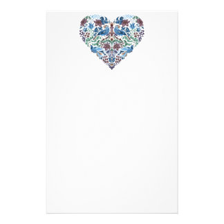 Vintage luxury Heart with blue birds happy pattern Stationery
