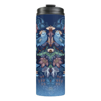 Vintage luxury Heart with blue birds happy pattern Thermal Tumbler