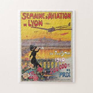 Vintage Lyon Aviation Week Travel Ad Jigsaw Puzzle