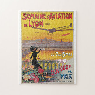 Vintage Lyon Aviation Week Travel Ad Puzzle