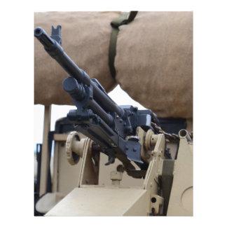 Vintage Machine Gun And Armor Letterhead Design