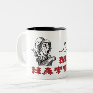 Vintage Mad Hatter Illustration Two-Tone Coffee Mug