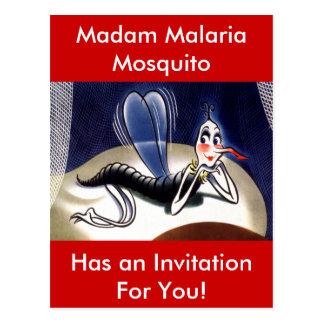 Vintage Madam Malaria Mosquito Postcard