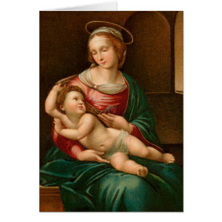Vintage Madonna and Child Religious Christmas Card