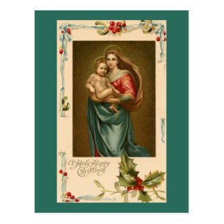 Vintage Madonna With Flowing Hair and Child Postcard