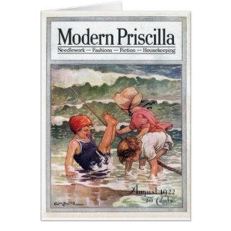 Vintage Magazine - Children At the Beach, Card