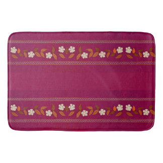 Vintage Magenta Embroidery Daisy Floral Bath Mat