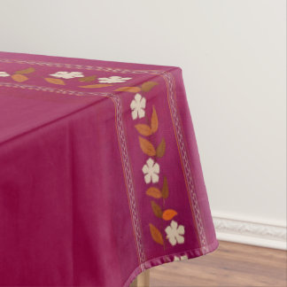 Vintage Magenta Embroidery Flowers Tablecloth