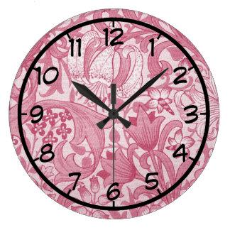 Vintage Magenta Swirls, Floral and Leaves Pattern Clock