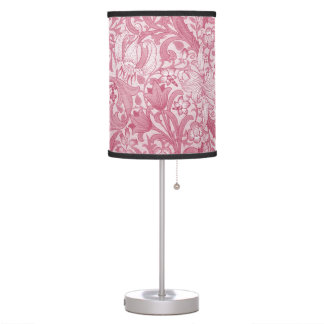 Vintage Magenta Swirls, Floral and Leaves Pattern Table Lamp