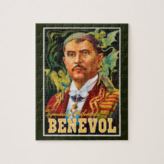 Vintage Magic Poster, Legendary Professor Benevol Jigsaw Puzzle