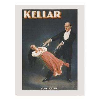 Vintage magic trick: levitation postcard