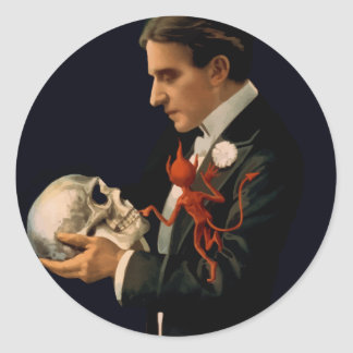 Vintage Magician, Thurston Holding a Human Skull Classic Round Sticker
