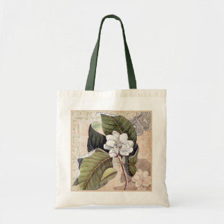 Vintage Magnolia and Moth Southern Damask Chic Tote Bag