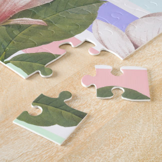 Vintage magnolia floral in soft color strips girly puzzle
