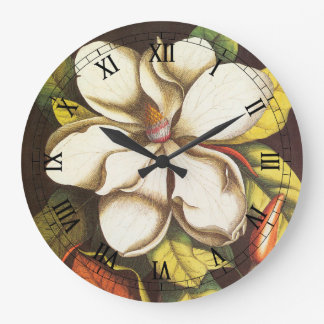 Vintage Magnolia Flowers Plant With Seeds Large Clock