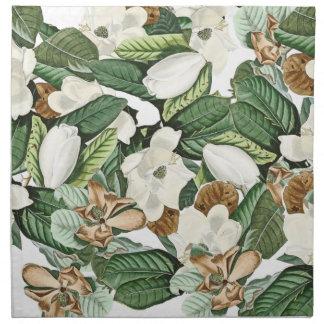 Vintage Magnolia Gold Flowers Leaves Cloth Napkins