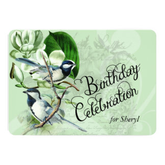 Vintage Magnolia Songbirds Birthday Invite
