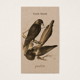 Vintage magpie and jack daw  - sepia business card