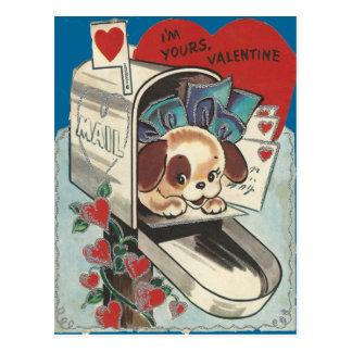 Vintage Mailbox Doggy Valentine Postcard