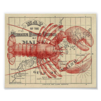 Vintage Maine Map with Lobster Poster