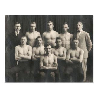 Vintage Male Wrestling Team Postcard