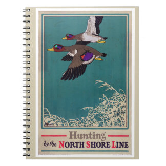 Vintage Mallard Hunting Poster Restored Note Books