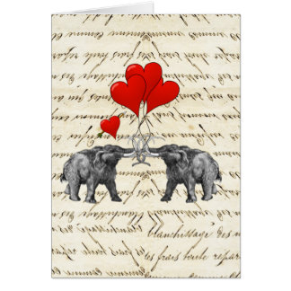 Vintage mammoths and hearts card
