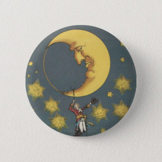 Vintage Man Hanging From the Moon 2 Inch Round Button