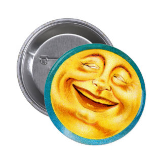 Vintage Man in the Moon Happy Moon 2 Inch Round Button