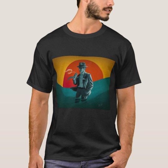 Vintage Man Smoking Black T-Shirt