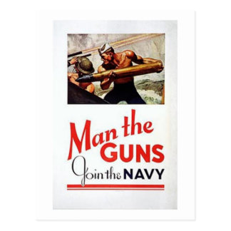 Vintage Man The Guns Join the Navy Recruitment Po Postcard