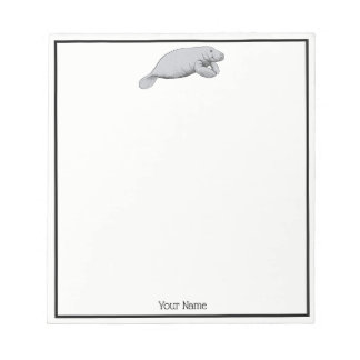 Vintage Manatee Drawing Notepad