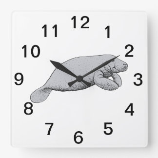 Vintage Manatee Drawing Square Wall Clock