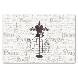 Vintage mannequin French typo Paris Eiffel Tower Tissue Paper