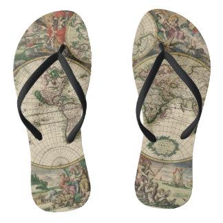 Vintage Map 1689 Flip Flops