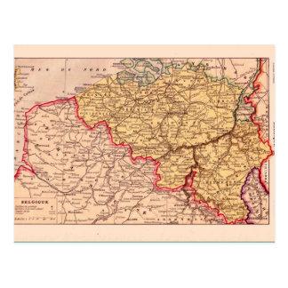 Vintage map, 1920, Belgium Postcard