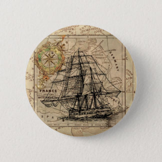Vintage Map and Ship 2 Inch Round Button