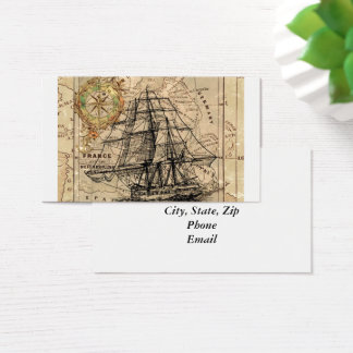 Vintage Map and Ship Business Card