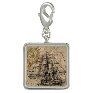 Vintage Map and Ship Charm