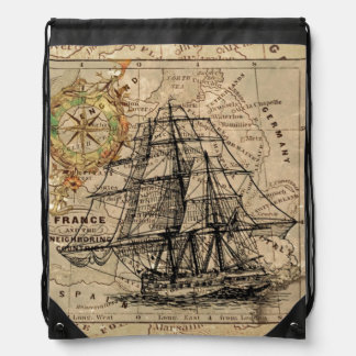 Vintage Map and Ship Drawstring Bag