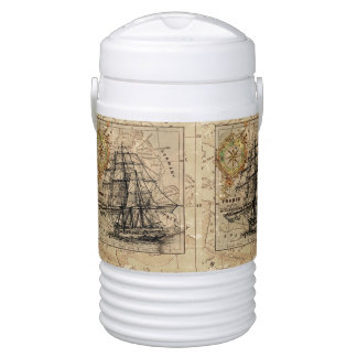 Vintage Map and Ship Drinks Cooler