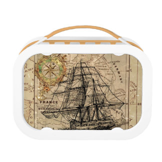 Vintage Map and Ship Lunch Box