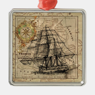Vintage Map and Ship Metal Ornament