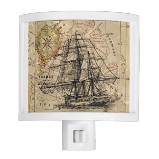 Vintage Map and Ship Night Lights