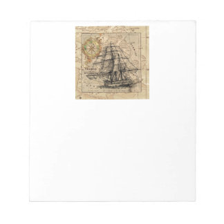 Vintage Map and Ship Notepad