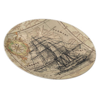Vintage Map and Ship Plate